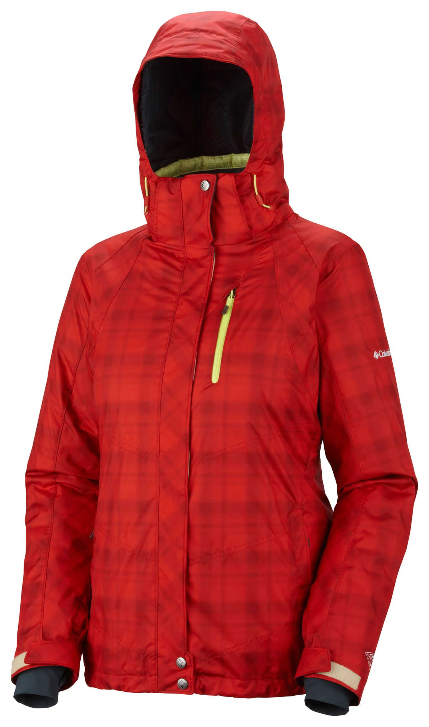 Ski Key Features of the Columbia Whirlibird Interchange Ski Jacket: FABRIC Shell: 100% nylon Legacy twill, 100% polyester Printed Plaid. Lining: 100% nylon embossed taffeta. Liner: 100% polyester Fine Line Plaid DP ripstop. Lining: 100% polyester Thermal Reflective. Insulation: 50% Polyester/50% recycled polyester OH, 100g. FIT Active Omni-Heat™ thermal reflective and insulated liner Omni-Tech™ waterproof/breathable fully seam sealed Omni-Shield™ advanced repellency liner Zip-in and 3-point Interchange System Removable, adjustable storm hood Underarm venting Drawcord adjustable hem Adjustable, snap back powder skirt Interior security pocket Waterproof zip-closed pockets Zip-closed pockets Media and goggle pocket Thumb holes Adjustable outer cuff-inner comfort cuff - $230.00