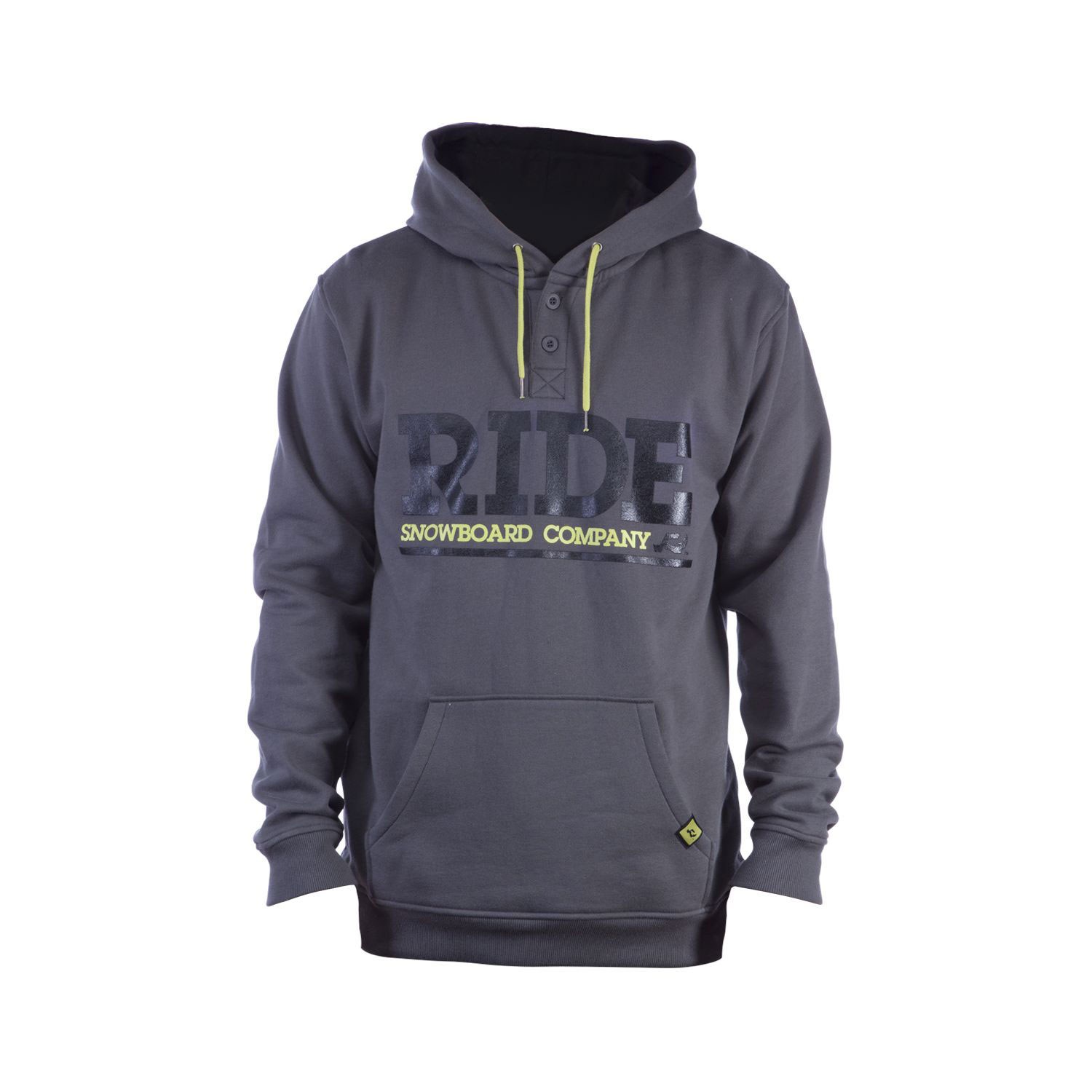Key Features of the Ride Logo Pullover Hoodie: 300g 80% Cotton / 20% Poly Slim Fit Henley Style Neck Center Front Screen Print Custom Woven Label and Trims - $59.95