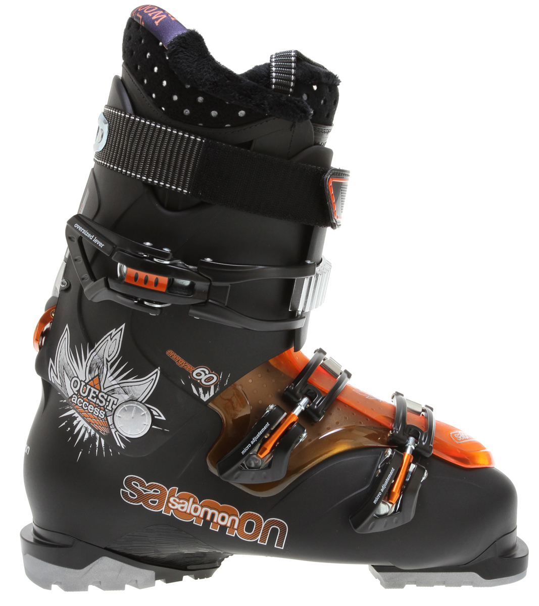 Ski Light weight, convenient all-mountain boot with a unique magnesium Backbone system to combine easy walking and great skiing performance.Key Features of the Salomon Quest Access 60 Ski Boots: Bi-material PP lower shell Bi-material PP upper cuff Easy step in overlap Spaceframe Heel and toe removable din pads Backbone release Boot board My Custom Fit Comfort Woolmetal 2 micro alu + 1 vario buckles - $262.95