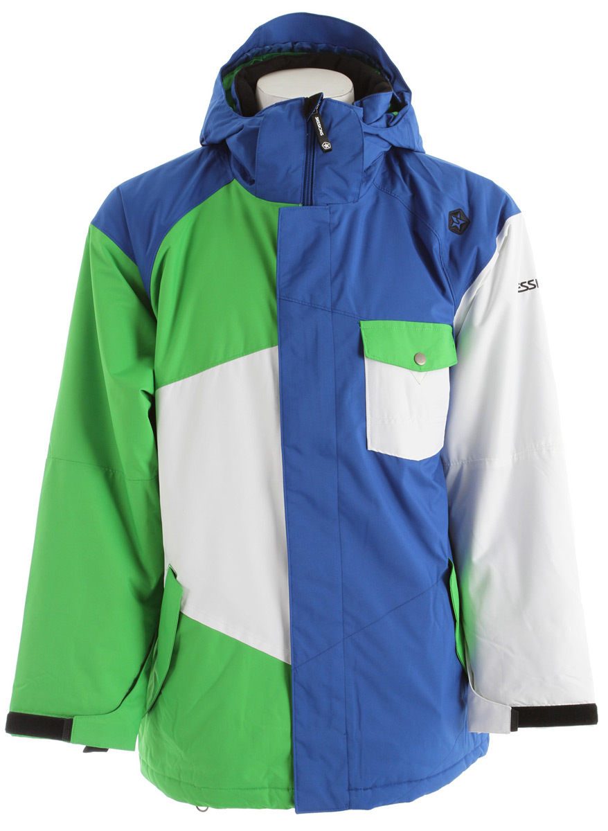 Snowboard Get ready for battle with this jacket, featuring an extra roomy fit to accommodate multiple layers.* Waterproof: 15K/10K * Team Fit * Insulation: 120G/80G Polyfill * Lining: Satin Lining * Dobby Fabrication * Strategically Taped Seams * Snap Away Storm Skirt * Butterfleece Lined Collar and Hand Pockets * Velcro Gusset Cuff Adjusters * Biaxial Hood * Media Pocket Vents with Poppers Lycra Handcuffs * Pass Pocket * Interior Storm Flap with Chin Guard * Exterior Utility Pocket * Key Clip * Embroidered Logos * Whistle Puller on Front Zipper * Interior RECCO - $99.85