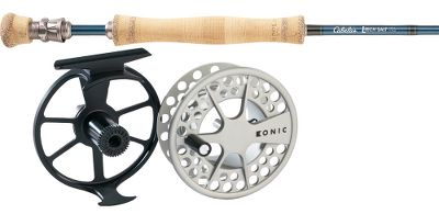 Flyfishing With Cabelas feather-light saltwater L-Tech fly rod and Lamsons smooth Konic II fly reel, you have one of the lightest and most powerful fly-fishing combos on the market at a price thats hard to beat. Includes 90 feet of Cabelas Prestige Plus Saltwater fly line (a $39.99 value) and 200 yds. of Prestige backing.Our L-Tech fly rods available weights and fast actions perform well in the high-wind, sight-casting situations youre likely to encounter when targeting the most popular saltwater species. Equipped with corrosion-resistant components, the blanks are precision-crafted of a proprietary blend of IM6, IM7 and IM8 graphite for the ideal balance of line-zipping fast action and lightweight strength. It flawlessly transfers energy between the backcast and forward cast, accurately propelling line to your target. The threaded barrel section of the reel seat encloses the butt end of the blank to eliminate the extra weight of a middle insert and to ensure a secure bond with the blank. An up-locking Delrin ring ensures the locking nut snugs the reel securely in place. Corrosion-resistant, nickel-titanium-alloy REC Recoil stripper guides are 50% lighter than traditional guides and always return to their original shape. 25-year limited warranty.Extremely durable with a smooth, contrasting finish, the Konic II fly reel is pressure-cast, anodized and coated with solid polyurethane for scratch and corrosion resistance. Outfitted with super-smooth, sealed, conical drag.Images depict the style of the rod handle and may not fully represent the actual length. Type: Saltwater Fly Combos. Rod Model: 908-4. Reel Model: 3.5. Pieces: 4. Line Weight: 8. Length: 9'. Handle: A. Backing Capacity: 200 yds./20 lb.. Combo Ltech Salt 908-Konic. - $419.99