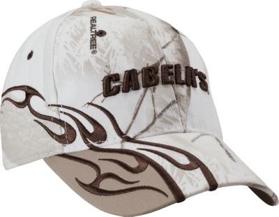 Hunting A touch of outdoor attitude on display in a midprofile structured fit. Raised Cabelas logo on front, embroidery on back and flame pattern on the side. Pre-curved bill. Adjustable hook-and-loop closure with D-ring. Made of 60/40 cotton/polyester blend. One size fits most. Imported.Camo pattern: Realtree APS. Size: ONE SIZE FITS MOST. Color: Ap Snow Realtree. Gender: Male. Age Group: Adult. Material: Cotton. Type: Caps. - $8.88