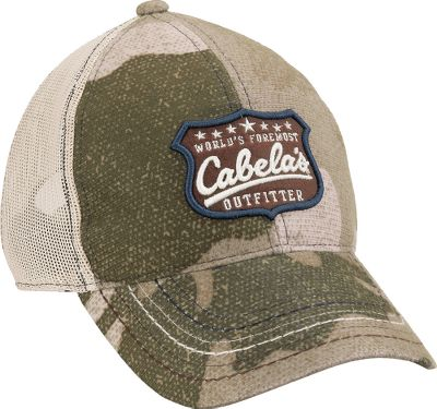 Hunting Classic mesh-back styling with a raised embroidery patch and pre-curved bill. Midprofile structured styling with adjustable brass closure. Made of 100% polyester. One size fits most. Imported. Camo pattern: Outfitter Green. Size: One Size. Color: Outfitter Camo. Gender: Male. Age Group: Adult. Material: Polyester. - $20.99