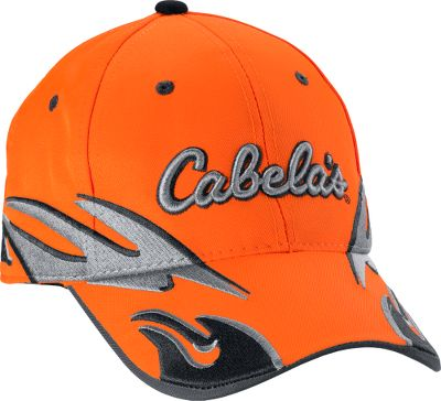 Hunting Show your allegiance to an outdoor lifestyle with the unique flame-style embroidery on blaze orange. The structured build has an adjustable hook-and-loop closure with D-ring. Made of 100% Polyester. Raised Cabelas logo. One size fits most. Imported. Color: Blaze Orange. Size: One Size. Color: Blaze Orange. Gender: Male. Age Group: Adult. Material: Polyester. - $14.88