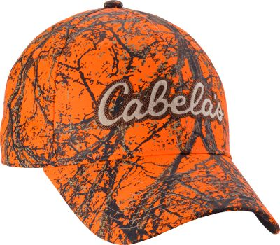 Hunting Low-profile, pre-curved brim and structured style. Embroidered Cabelas logo declares your passion for the outdoors. Adjustable hook-and-loop closure. Made of 100% polyester. One size fits most. Imported. Color: Blaze Orange. Size: One Size. Color: Blaze Camouflage. Gender: Male. Age Group: Adult. Pattern: Camo. Material: Polyester. - $15.88