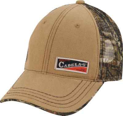 Hunting Authentic camo in a low-profile, structured fit. Cabelas patch says youd rather be on an outdoor adventure. Mesh-back styling and pre-curved bill. Adjustable brass closure. Made of 100% cotton. One size fits most. Imported. Camo pattern/color: Mossy Oak Break-Up Infinity/Tan, Mossy Oak Break-Up Country/Tan. Size: One Size Fits Most. Color: Mossy Oak Country. Gender: Male. Age Group: Adult. Pattern: Camo. Material: Cotton. Type: Caps. - $11.88