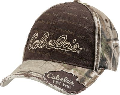 Hunting A touch of distressed edging on the pre-curved bill, authentic camo and an embroidered Cabelas logo declare you have an outdoor attitude. The midprofile fit has an adjustable hook-and-loop closure with a D-ring. 100% cotton. One size fits most. Imported.Camo patterns/color: Realtree AP/Brown, Realtree XTRA/Brown. Type: Caps. Size: One Size Fits Most. Camo Pattern: Realtree AP. Size One Size Fits Most. Color Realtree Ap Hd. - $11.88