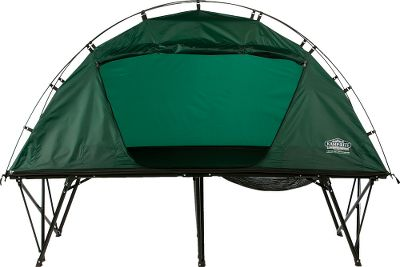 Camp and Hike Use the tent cot as a complete sleeping shelter, or use each separately. The tent portion is compact enough to be easily packed to remote locations. The entire package folds into a 43L x 8W x 8H package that easily fits in the trunk of a car. Roomy 84 x 33 sleeping area. Polyester and mesh construction. Includes rain fly and zippered carry bag.Weight capacity: 350 lbs. Imported. - $149.88