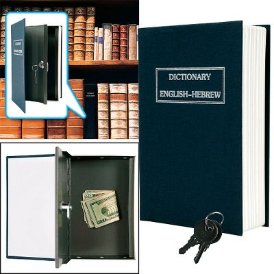 Disguised as a common dictionary, the book safe delivers a simple, unique solution to store, hide and protect valuables from unwanted thieves. Simply put deeds, passports, birth certificates, cash, photos and other valuables in, fold over the flap, and place the safe in a dry place. Includes key lock as an extra measure of security. Dimensions: 9.5L x 6.1W x 2.25H. Weight: 1.95 oz. Type: Home Security. - $15.99