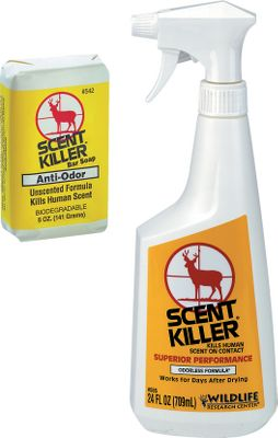 Hunting Stay undetected from the noses of wary game. The Scent Killer Kit contains two formulas needed for masking and reducing human scent.Kit includes: 24-oz. Spray is an amazing, odorless breakthrough that helps control human scent on contact. Simply spray Scent Killer on your clothes to prevent human odor from forming a detectable gas. Works all day long.5-oz. Bar Soap washes human odor off your body. Special non-scented formula. Biodegradable. Type: Scent Control. - $9.99