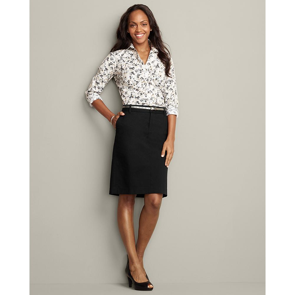 Eddie Bauer Perfect Twill Trouser Skirt - A touch of stretch gives our Perfect Twill skirt a clean, refined look that transitions from workday to weekend with the greatest of ease. Standard waist, mid-rise; slightly fuller hip. Modified Hourglass Body Shape. - $29.99