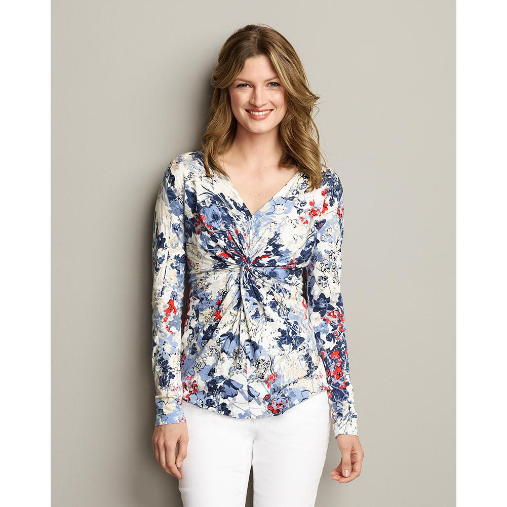 Eddie Bauer Twisted-Front V-Neck Printed Top - Perfect layered under a blazer or on its own, our V-neck modal top features an elegant twisted-front and a form-flattering silhouette. - $29.99