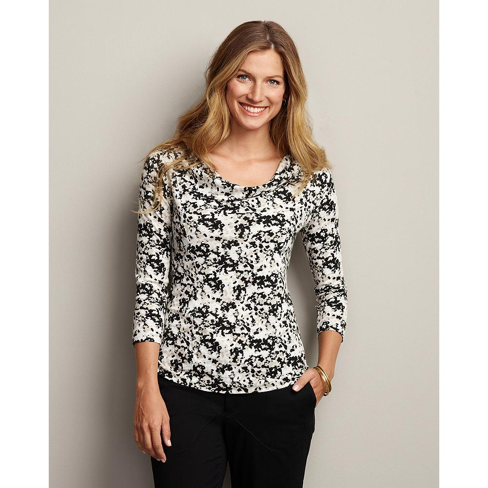 Eddie Bauer Three-Quarter Sleeve Draped Scoop-Neck Printed Top - Perfect layered under a jacket or on its own, our 3/4-sleeve cotton/modal top features an elegant draped neckline and a form-flattering silhouette. - $29.99