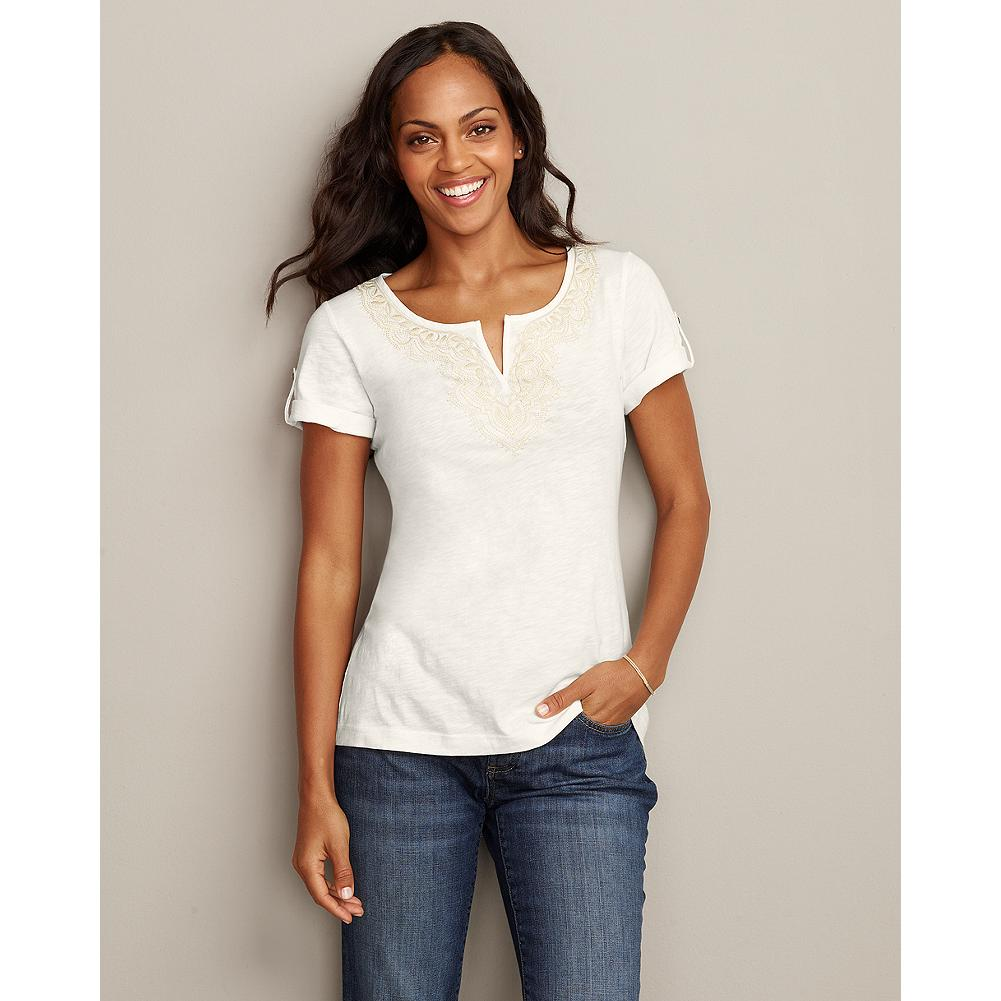 Eddie Bauer Embroidered Split-Neck T-Shirt - Solid - A beautiful embroidered neckline adds a bohemian touch to our easy-going split-neck T-shirt. - $19.99