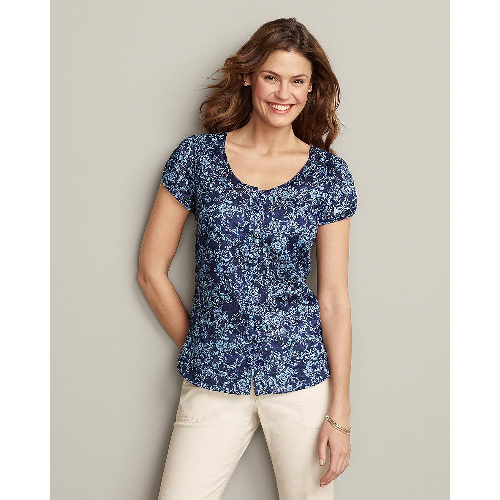 Eddie Bauer Short-Sleeve Smocked Print Shirt - Perfect for warm-weather layering, our pretty button-front shirt features a scoop-neckline and subtle smocking details at the front yoke. - $19.99