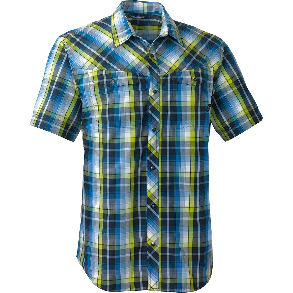 Entertainment Eddie Bauer Short-Sleeve High Route Shirt - Worn either in the field or on the road, this wicking shirt transitions easily from mountain to casual environments. Soft fabric looks clean and presentable even when pulled from your pack. It's also easy care. Just wash it in the sink and hang it to dry, or throw it in the wash and dryer, and go-no ironing needed. - $39.99