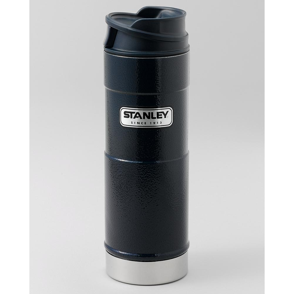 Entertainment Stanley Classic One-Hand Vacuum Mug 16 oz. - Stanley's One-Hand Vacuum Mug keeps 16 oz. of your favorite drink hot for up to 6 hours. Just press the button to drink--let go and it's leak proof. - $30.00