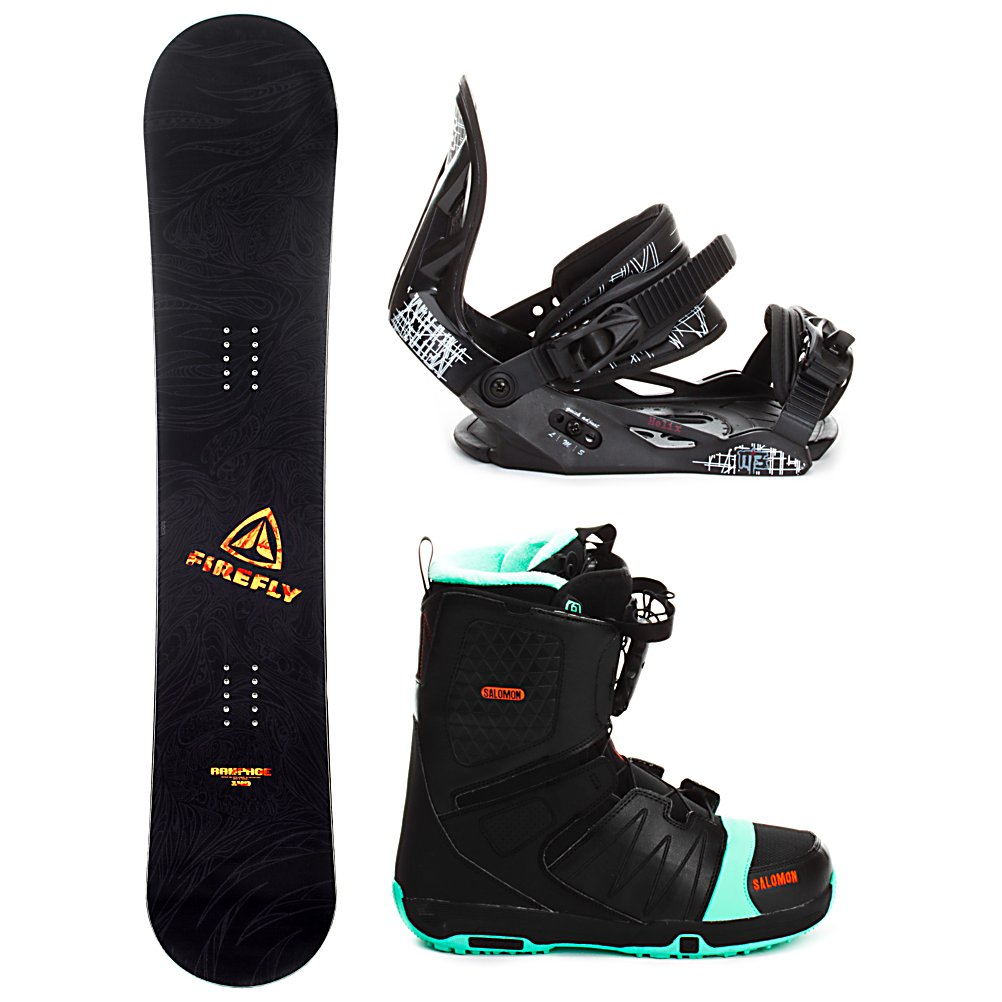 Snowboard Firefly Rampage Helix Faction FS Complete Snowboard Package - When you are ready to tear up the mountain pick up the Firefly Rampage Snowboard Package. A fun beginner board for the guy looking to shred this winter, the Rampage Firefly Snowboard will get you up on your feet and make learning the ways of the mountain simple and fun. After shredding up the slopes, you can take it over to crush the park. This board has a medium flex making it the perfect all mountain board. An entry level ride with a stylish design, the Firefly Rampage Snowboard will give you the confidence to reach the next level and have fun while learning! This package also includes the soft flexing and forgiving Millenium 3 Helix binding. This soft flexing binding is forgiving enough to accommodate any inexperienced rider, while a thick but soft flexing ankle strap provides the support and response needed to progress. Padding underfoot dampens vibration and eliminates shock giving confidence to the entry level rider looking to take on anything. A soft foam convertible toe strap allows the rider to wear the binding over the top of the boot like a traditional strap or conforms to fit over the toe of the boot eliminating any possible pressure points and drawing the boot back into the binding. Simple, smooth gliding ratchets make for easy entry and exit, while tool-less adjustments allow you to customize this binding to any boot on the fly. Rounding out this package is the Salomon Faction FS boots. This boot features Salomon's Speed Powerlace system that'll have you lacing - $249.99