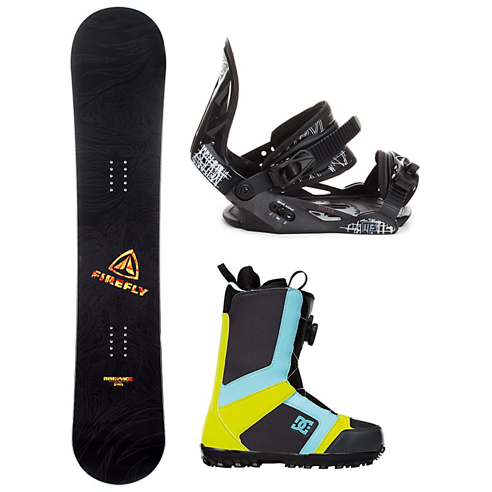 Snowboard Firefly Rampage Helix Scout Complete Snowboard Package - When you are ready to tear up the mountain pick up the Firefly Rampage Snowboard Package. A fun beginner board for the guy looking to shred this winter, the Rampage Firefly Snowboard will get you up on your feet and make learning the ways of the mountain simple and fun. After shredding up the slopes, you can take it over to crush the park. This board has a medium flex making it the perfect all mountain board. This package also includes the soft flexing and forgiving Millenium 3 Helix binding. Padding underfoot dampens vibration and eliminates shock giving confidence to the entry level rider looking to take on anything. A soft foam convertible toe strap allows the rider to wear the binding over the top of the boot like a traditional strap or conforms to fit over the toe of the boot eliminating any possible pressure points and drawing the boot back into the binding. Simple, smooth gliding ratchets make for easy entry and exit, while tool-less adjustments allow you to customize this binding to any boot on the fly. The pro inspired DC Scout boots round out this package. They feature the easy and convenient BOA lacing system which will have you laced up with the flick of your wrist and are super easy to get out of. The Scout is also designed with Uni Lite which provides traction, durability, dampening and cushioning all while reducing the weight of the boot. The Scout was built with a medium flex so that you can take every inch of the hill and every rail and box that comes your wa - $299.99