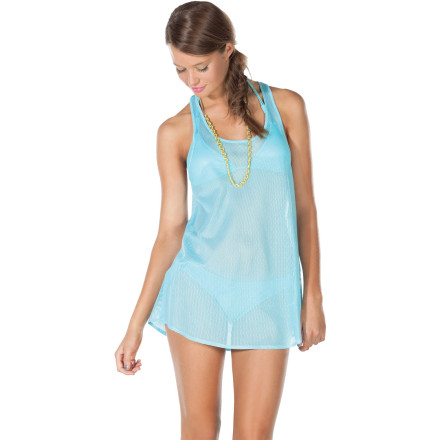 Entertainment The Volcom Women's All Meshed Up Tank Dress puts a soft, airy layer of see-through fabric between you and the rest of the world. This coverup is great for walking from your car to the beach and from the beach to the cabana when you want to grab a cold drink. - $23.77
