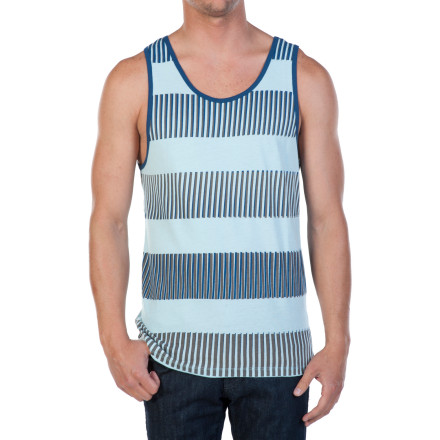 Surf The Volcom Men's I Sore Tank Top has the basics covered: all-cotton feel-good construction and durable, sporty stripe screenprint. Plus it has a retro fit that of course adds a modern feel to whatever else you wear. - $14.97
