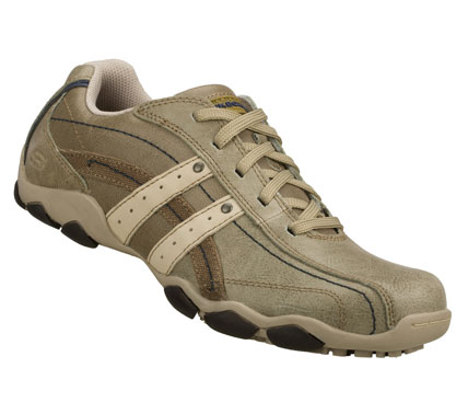 The next generation of cool casual style starts with the SKECHERS Diameter - Blake shoe.  Smooth leather; synthetic and fabric upper in a lace up sporty casual oxford with stitching and overlay accents. - $59.00