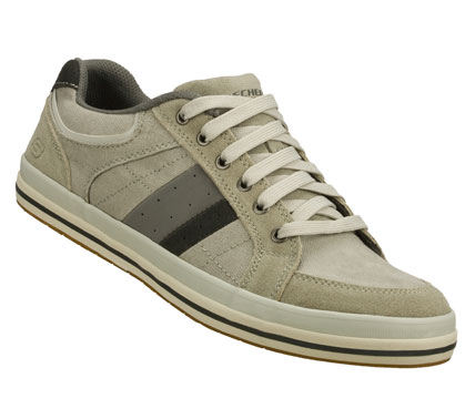Cool classic sporty style adds more comfort in the SKECHERS Relaxed Fit: Diamondback - Boren shoe.  Soft suede and woven canvas fabric upper in a lace up sporty casual sneaker with stitching and overlay accents. - $55.00