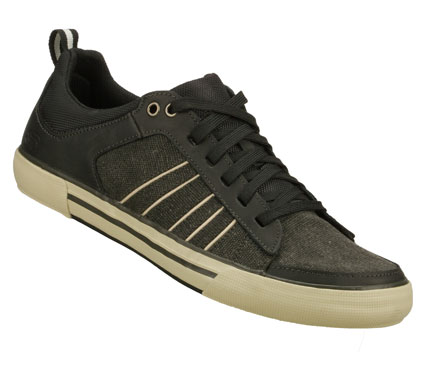 Sporty cool style fits perfectly with your look in the SKECHERS Planfix - Osman shoe.  Smooth leather and woven canvas fabric upper in a lace up sporty casual sneaker with stitching and overlay accents. - $59.00