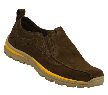 Spend the warm weather in easygoing cool style with the SKECHERS Relaxed Fit(R): Superior - Bates shoe.  Soft suede upper in a slip on casual boat inspired loafer moc with stitching and overlay accents. - $65.00