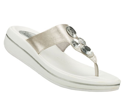 Surf Give your feet a refreshing change of pace with the SKECHERS Relaxed Fit: Upgrades - Change Up sandal.  Lightly textured faux leather upper in a casual comfort thong sandal with gem detail and Memory Foam heel pad. - $45.00