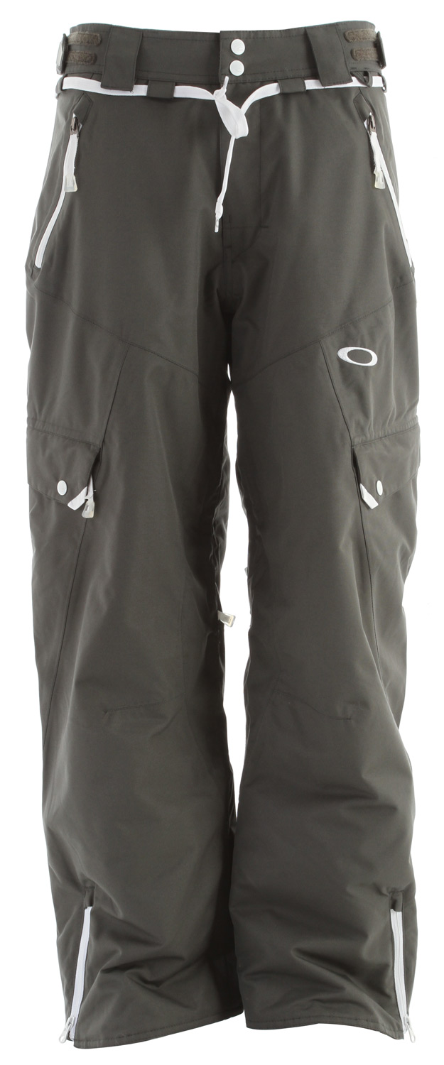 Snowboard Eero is know for his fashion forward sense of style. Drawstrings and cargo pockets are an added fresh touch on this 10/10k laminated thinsulated insulated pant.Key Features of the Oakley Motility Snowboard Pants: 10,000mm Waterproof 10,000g Breathability Thinsulate Full 80g Fully taped seams Storm skirt system Thigh vent zipper 2 Way wrap crotch vents Silicon gripper waist band Fixed adjustable waist tab Boot Gaiter Lower leg zippers Hem gusset Loose fit 100% Polyester - $153.95