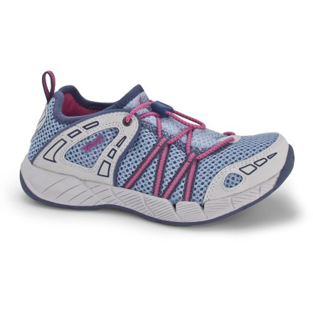 Camp and Hike Teva Churn girls' water shoes offer grippy traction and quick-draining performance-the perfect choice for hot summer days when the water is calling her name. Polyester mesh uppers let water flow freely from shoes and dry quickly for comfort; thermoplastic urethane overlays supply support. Drainage system in uppers allows excess water to escape in all directions, so Churn shoes dry quickly. Durable pull-cord allows quick adjustment and easy entry and exit. Fold-down, Shoc Pad(TM) heels let her wear them like slippers if she prefers. Neoprene linings help protect bare feet from pressure and abrasion, and won't hold excess water. Drain-Frame molded EVA insoles add cushioning; perforations allow water to escape so feet don't have to swim. Thin nylon shanks add stability and control underfoot. EVA midsoles in the Teva Churn girls' water shoes absorb and transfer shock for enhanced push-off energy. Nonmarking Spider Rubber(R) outsoles deliver grippy traction on a variety of surfaces, especially in wet environments. - $26.83