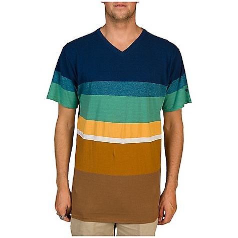 Surf Billabong Men's Gravy Yarn Dye V-Neck Tee DECENT FEATURES of the Billabong Men's Gravy V-Neck Tee Engineered yarn dye jersey v-neck tee with Billabong label on bottom left sideseam when worn Wave logo print on left sleeve The SPECS 60% Cotton 40% Polyester - $35.00