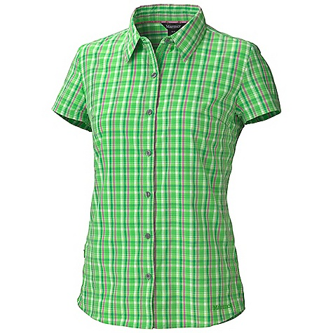 Free Shipping. Marmot Women's Reese Plaid SS Top DECENT FEATURES of the Marmot Women's Reese Plaid Short Sleeve Top Comfortable, Packable, Lightweight Stretch Performance Woven Fabric Ultraviolet Protection Factor (UPF) 50 Abrasion Resistant Nylon Supplex Stretch for Increased Mobility Quick-Drying and Wicking Zipper Secure Pocket Continous Underarm Gusset Durable Flat Felled Seams with Contrast Interior Stitch Shirt Tail Hem Darts for Tailored The SPECS Weight: 3.7 oz / 104.9 g Material: 58% Nylon, 42% Polyester Plainweave 2.5 oz/yd Fit: Regular - $57.95