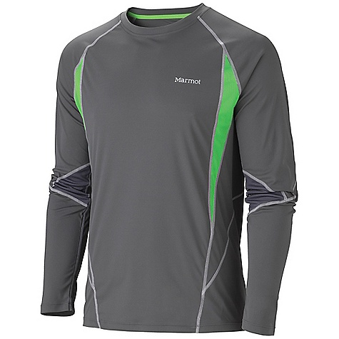 Free Shipping. Marmot Men's Stride LS Top DECENT FEATURES of the Marmot Men's Stride Long Sleeve Top Lightweight, Breathable, Quick-Drying Performance Knit Fabric Ultraviolet Protection Factor (UPF) 50 Mesh Panels for Breathability Raglan Sleeve for Increased Range of Motion Flat-Locked Seams for Added Comfort Droptail Hem for Increase Coverage Tag-Free Neckline Reflectivity The SPECS Weight: 4.8 oz / 136.1 g Material: 100% Polyester Interlock 2.7 oz/yd 100% Polyester Pique 3.2 oz/yd Fit: Athletic - $49.95