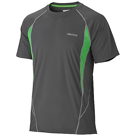 Marmot Men's Stride SS Top DECENT FEATURES of the Marmot Men's Stride Short Sleeve Top Lightweight, Breathable, Quick-Drying Performance Knit Fabric Ultraviolet Protection Factor (UPF) 50 Mesh Panels for Breathability Raglan Sleeve for Increased Range of Motion Flat-Locked Seams for Added Comfort Droptail Hem for Increase Coverage Tag-Free Neckline Reflectivity The SPECS Weight: 4.1 oz / 116.2 g Material: 100% Polyester Interlock 2.7 oz/yd 100% Polyester Pique 3.2 oz/yd Fit: Athletic - $44.95