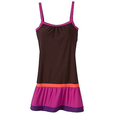 Entertainment Free Shipping. Prana Women's Synergy Dress DECENT FEATURES of the Prana Women's Synergy Dress Double scoop neckline Tiered skirt panels with colorblock detail Removable molded cups at inside bust with side seam entry Fully lined Elastic inside straps for support The SPECS 82 Nylon / 18 Spandex 6.2 oz / sq yd - $79.95