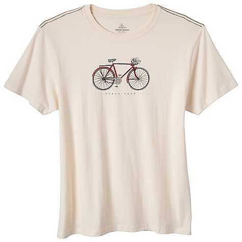 Prana Men's Ride Tee DECENT FEATURES of the Prana Men's Ride Tee Bicycle with inspirational message Fair Trade garment Purchase of this garment supports better working conditions for the cotton farmers and factory workers who made it For each item sold, they earn a premium to invest in social development projects and to fight poverty in thier communities Waterbased screenprint Standard Fit The SPECS 100 Organic Cotton - $39.95