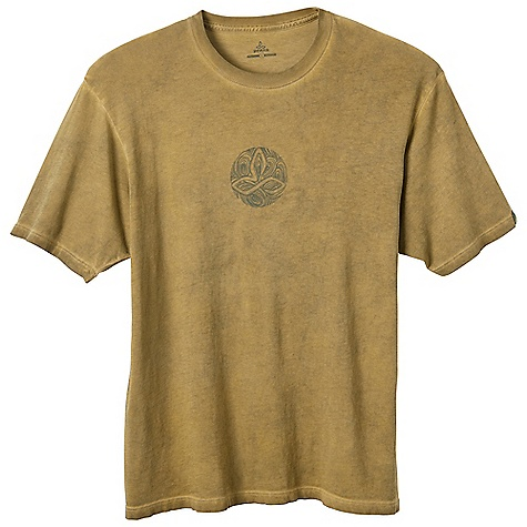Prana Men's Ripple Tee DECENT FEATURES of the Prana Men's Ripple Tee Logo inspired Mandala created by fine in.Ripplein. lines Vintage pigment wash Waterbased screenprint Standard Fit The SPECS 100 Cotton - $39.95