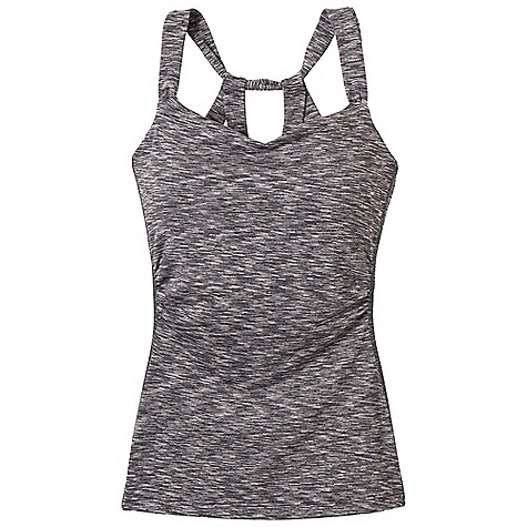 Fitness Free Shipping. Prana Women's Twyla Top DECENT FEATURES of the Prana Women's Twyla Top Space dye performance jersey Shirred, feminine front details Internal shelf bra with removable molded cups The SPECS 55 Tactel Nylon / 40 Polyester / 5 Spandex 5.5 oz / sq yd - $68.95