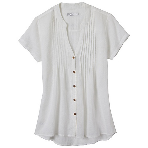 Free Shipping. Prana Women's Ellie Top DECENT FEATURES of the Prana Women's Ellie Top Lightweight woven voile Button front with mandarin collar Pintucks at chest Shirttail bottom hem The SPECS 100 Organic Cotton - $49.95
