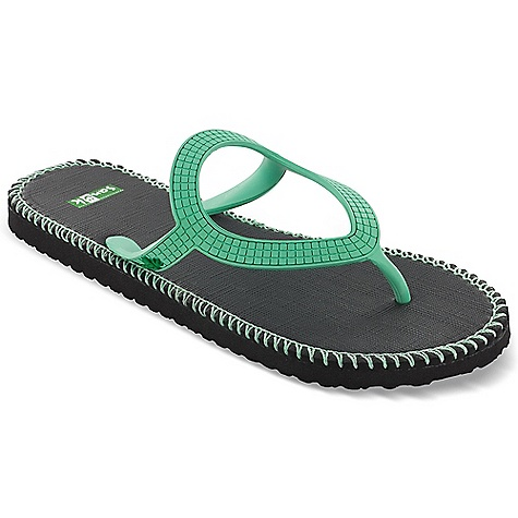 Surf Sanuk Women's Ibiza Stitch Sandal DECENT FEATURES of the Sanuk Women's Ibiza Stitch Sandal Squishy Soft Rubber Footbed Circular Rubber Shape Ibiza Strap featuring Delicate, Geometric Texture Stitch detailing around perimeter of Footbed Vegan and Vegetarian - $19.95
