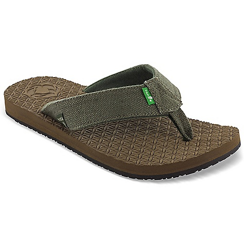 Surf Sanuk Men's Rasta Didgeridude Sandal DECENT FEATURES of the Sanuk Men's Rasta Didgeridude Sandal Super Soft High Rebound, Recyclable, Molded T.P.E Footbed with in.Flower of Lifein. Emboss 48% Recycled Rubber Outsole Handmade Hemp Strap Super Soft Recycled PET Liner Vegan and Vegetarian - $39.95