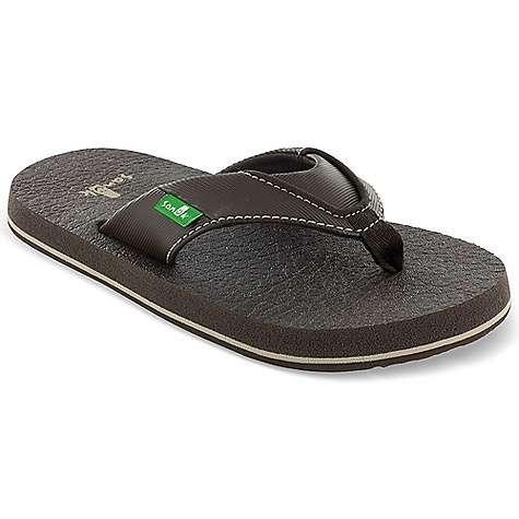 Fitness Sanuk Youth Root Beer Cozy Sandal FEATURES of the Sanuk Youth Root Beer Cozy Sandal Synthetic strap with soft jersey lining and nylon webbing toe post Footbed made from real yoga mat Happy U sponge rubber outsole Vegan and Vegetarian - $24.00