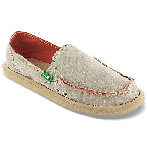Entertainment Free Shipping. Sanuk Women's Dotty Shoe DECENT FEATURES of the Sanuk Women's Dotty Shoe Super Soft, High Rebound, Molded in.Wood Grainin. EVA Footbed featuring AEGIS Antimicrobial additive Happy U Rubber Sponge Outsole Handmade Polka Dot Textile Upper and Canvas Liner Vegan and Vegetarian - $54.95