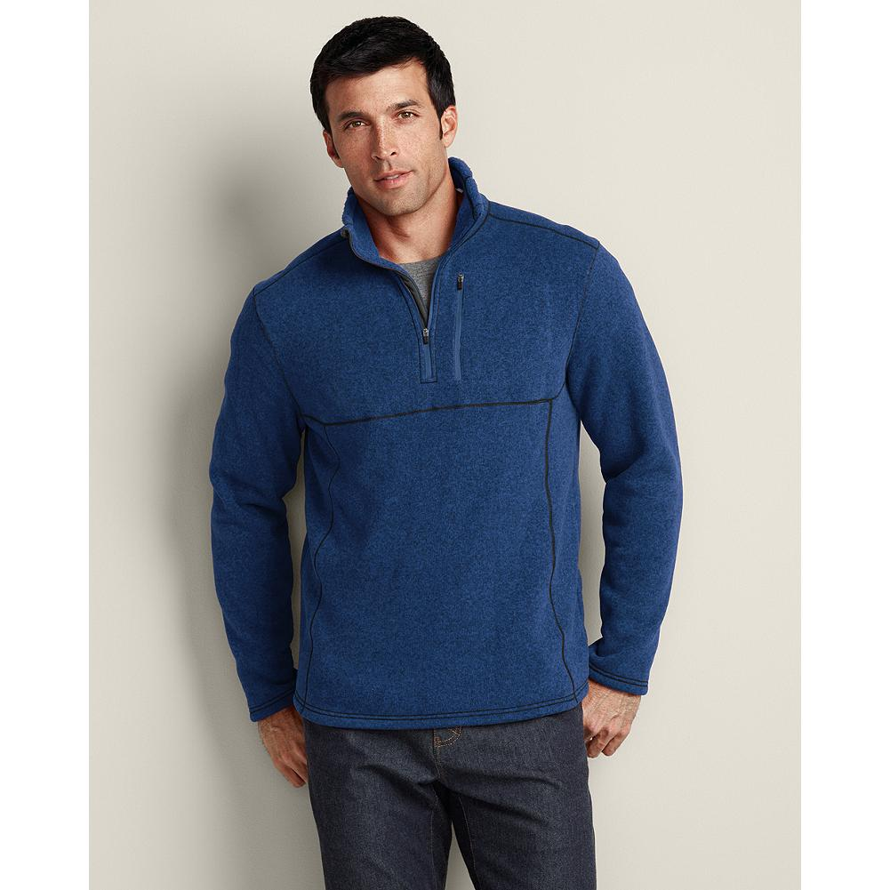 Entertainment Eddie Bauer Quarter-Zip Sweater Fleece - Our sleek 1/4-zip sweater fleece keeps you comfortable while active and can be worn on its own or as a layering piece. Heathered fabric. Stand up collar. Single chest pocket. Active fit. Imported. - $34.99