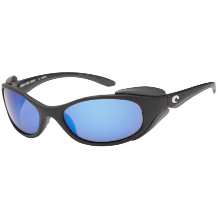 Camp and Hike Serious fishermen know to follow the birds, and to protect their eyes from the sun with the Costa 400 Polarized lenses of the Costa Del Mar Frigate Sunglasses. When the bait's running and the sun is bouncing off the waves, the Frigate keeps you on the water with lightweight polarized glass lenses and side shields that eliminate blinding glare and help you see deeper into the water. These Costa Del Mar shades feature an integrated hinge, tough composite frames and a medium face fit. - $113.37