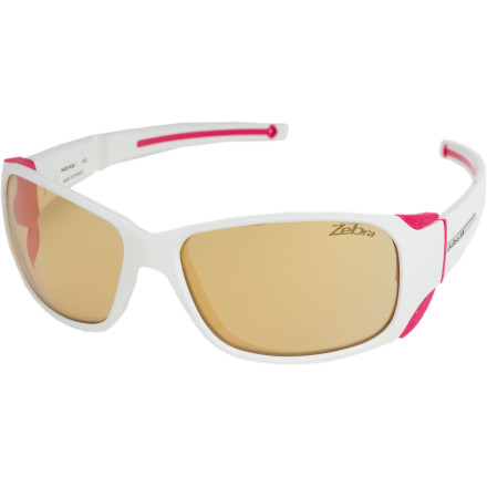 Camp and Hike The Julbo Women's Monterosa Sunglasses with Zebra Antifog Lenses combine the protective power and design of glacier goggles with the straightforward style you need for around town. These glasses are tough enough to handle intense alpine climbs and stylish enough for lunches with the girls. - $159.95