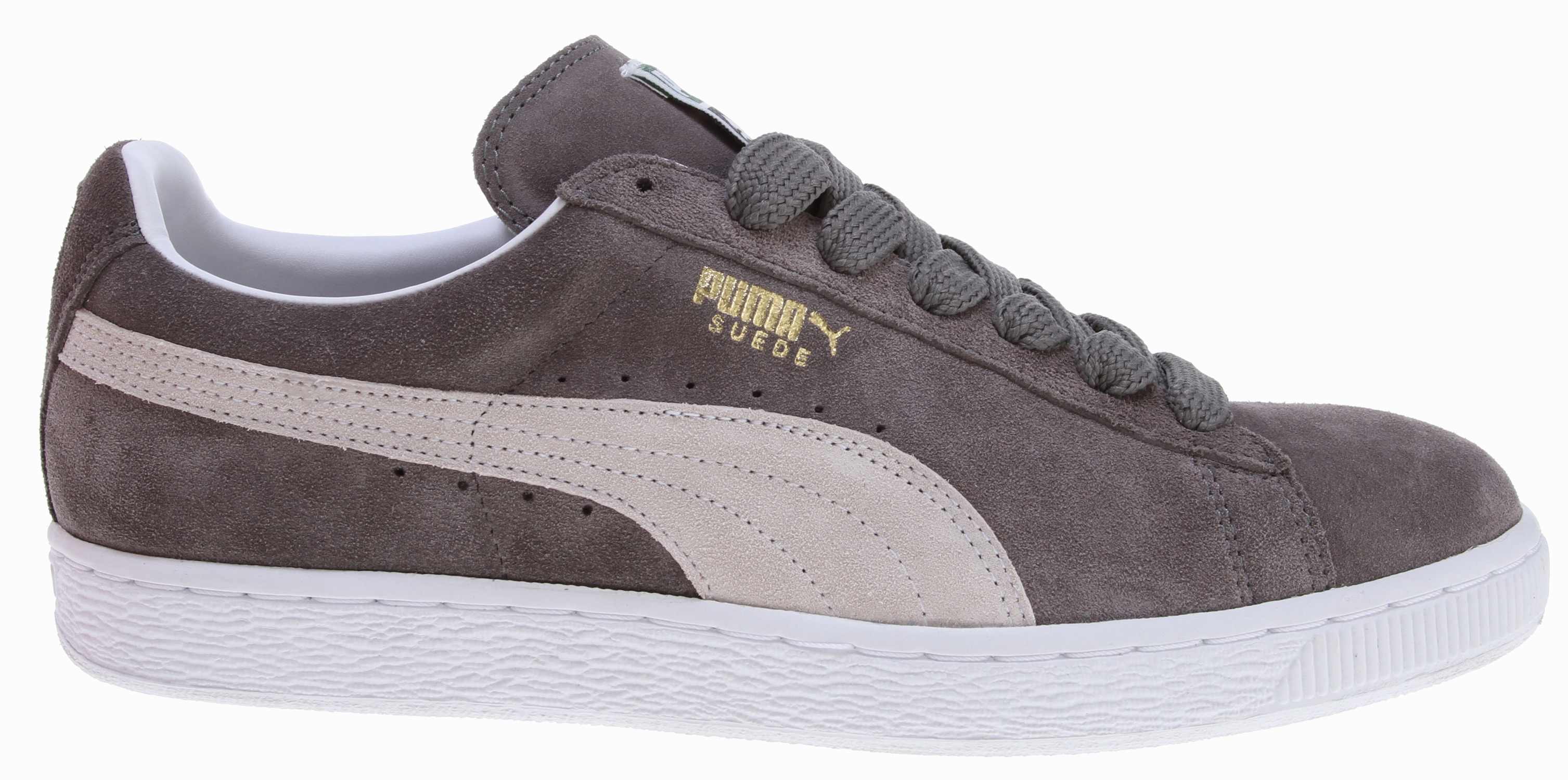 "Definitely the most well-known and popular of all PUMA shoes, this design classic rightly deserves its place in public affection and in every Hall of Fame. The Suede has even been involved in historical matters on a global scale. In cultural terms the suede can be credited as the first shoe of the ""B-Boyism"".Key Features of the Puma Suede Classic Plus Shoes: Outsole: Rubber Upper: Suede - $40.95"