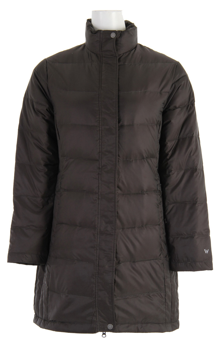 "Key Features of the White Sierra Flurry Long Down Jacket: Shell: 100% polyester houndstooth jacquard woven Lining: 100% polyester rip stop woven Highloft goose down insulated Zip secure hand warmer pockets Center back length: 34"" - $84.95"